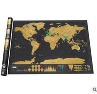 al por mayor decoración de mapas-Vintage Deluxe Scratch Map Mapa Mundial 82.5 x 59.5cm Decoración del Hogar Mapa del Mundo Wallpaper Wall Stickers Pegatinas Juguetes Regalos