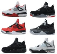 léger à bas prix achat en gros de-Cheap Air retro 4 IV Hommes Chaussures de basket-ball Militaire Bleu Pure Mars Thunder Bred Oreo Fire Red White Cement Shoes Livraison gratuite
