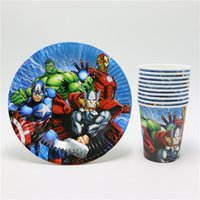 bamboo plates disposable - new style The Avenger cartoon disposable paper cups glass plates Kids birthday favors party decoration supplies