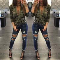 Wholesale 2016 Brand New Camouflage Hollow Out Long Sleeve Lace Up Casual Style Cool Women T shirt