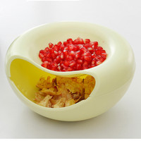 Wholesale Modern In Environmental Fruit Compote Split Double Bowl Compote Candy Snack Box Holder Tray Dish Decoration Plate Nut Plates
