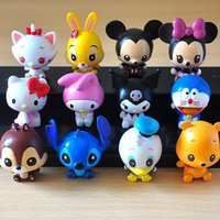 Wholesale 12pcs set Classic Cartoon Action Figure TSUM Mickey Minnie Mouse Hello Kitty Stitch Doraemon Action Figures Toys collection gift