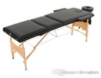 Wholesale 3 Fold Portable Massage Table Therapy Adjustable Massage Bed Facial SPA Bed Tattoo Beauty Salon Device Black