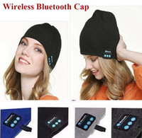 Wholesale NEW Soft Warm men women Beanie Bluetooth Music Hat Cap with Stereo Headphone Headset Speaker Wireless Mic Hands free christmas gift