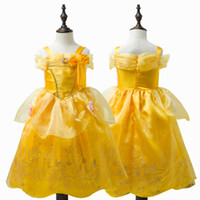 Summer belle costumes kids - Fashion halloween cosplay costume kids midi princess belle costume gold party dress for girls kids