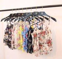 2016 flores de la impresión de las nuevas mujeres de la playa del verano cruzan la correa de espagueti capa de la gasa de la capa doble chaleco del chaleco tapa suelta de la camiseta