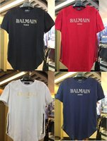 Wholesale Sleeve Flash - 2017 New Fashion Balmain Paris Mens Black T-Shirts Homme Short Sleeve Tee Shirts Brand Clothing NWT M L XL XXL