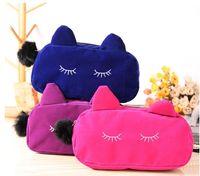 Señora Women Cosmetic Bags Maquillaje monederos caso franela poliéster tamaño 19 * 5 * 12cm gato de dibujos animados portátil de viaje DHL libre