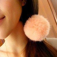 ball ponytail - Artificial Rabbit Fur Ball Elastic Hair Band Ponytail Holder Girls Hair Clip Headband Hair Accessories Gift Free Shipp HJIA1124