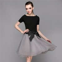 ball ties - Ball Dresses Woman Summer New Word Led Cultivate One s Morality Black Top Stitching Bow Tie with Organza Dress Skirt