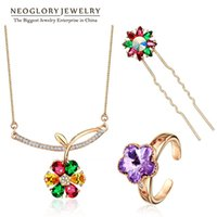 Wholesale Neoglory Rose Gold Plated Austrian Rhinestone Fashion Jewelry Sets for Women Wedding Jewellery New JS3 Flo c Colf Colf s