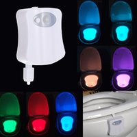Wholesale 8 Colors LED Toilet Bathroom Night Light Human Motion Activated Seat Sensor Lamp With Retail Box