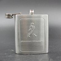 Wholesale 7 OZ Stainless Steel Hip Flask Johnnie Walker Letters Wine Alcohol Liquor Flask Wedding Gift Laser Welding