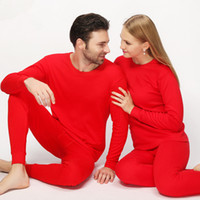 johns wedding achat en gros de-Mariage Rouge Coton Lucky Long Johns Lovers Ensemble de sous-vêtements thermiques d'hiver Femmes Hommes Marque Vêtements thermiques Pyjamas Costume Hot Sale