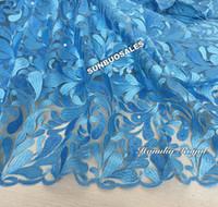 Precio de Cielo azul de la tela de lentejuelas-Brillo azul cielo cordón francés tela de encaje africano de tul con un montón de lentejuelas de moda para todas las ocasiones 5 yardas / pc 4109