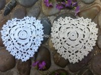 Wholesale heart wedding placemats handmade Crochet doilies cup mat Ecru White color cm
