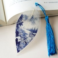 Wholesale leaf vein bookmarker blue and white china style classical unique Chinse gift useful present for friends travel souvenir