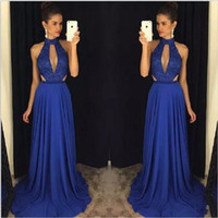 Wholesale 2017 Elegant Lace Prom Dresses Royal Blue High Neck Formal Party Dress Sweep Train Sleeveless Custom Made Long Evening Gowns