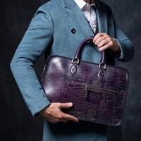 artwork logos - Vintage Retro handmade Genuine Cow leather tote bag mens luxury briefcase handmade high quality customize logo