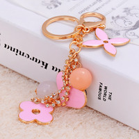 Wholesale Fashion Heart and Clover Pendant phone chain Keychain Jewelry colors Cartoon Key Ring Cheap Price