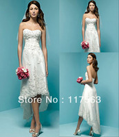Wholesale Built in Bra Strapless Corset Lace Tea length White Dress Casual Beach Wedding Dresses For Bride