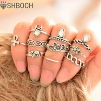 Wholesale 10pcs Set Vintage Ring Set Unique Carved Antique Silver Anillos Crystal Knuckle Rings for Women Boho Beach Jewelry