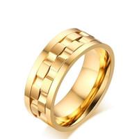 9mm anneau tournant anneau en acier de titane hommes 18K plaqué or anneaux pour les femmes / hommes anneaux de fiançailles punk rotatif