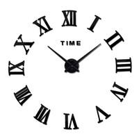 Wholesale new large roman wall clock acrylic mirror diy clocks home decoration living room wall stickers modern design