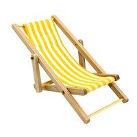 Оптово-желтый Новый 2016 Высокое качество DIY Дом кукол 1:12 Миниатюрный Складная Горячие Продажа Деревянные Deckchair Lounge Beach Chair