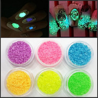 Wholesale New Fashion Colors D Glow Nail Art DIY Fluorescent Nail Glitter Stones Glow In Dark Sand Nails Beauty Decoration NA1036