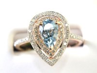 aquamarine ring gold pear - Chocolate and White Diamond Aquamarine Pear Ring With Double Halo K Rose Gold