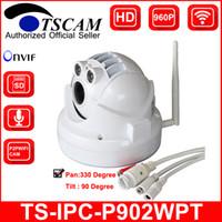 Precio de Línea de hd-TSCAM nuevo SP-P902WPT ONVIF HD 960P cámara sin hilos del IP de la bóveda de Wifi MINI PTZ de 1.3MP TF / ranura para tarjeta micro de la tarjeta del SD Línea audio P2P