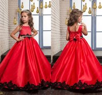 Wholesale Black and Red Wedding Flower Girl Dresses Princess Vintage Lace Beaded Bow Satin Sleeveless Baby Child Party Formal Birthday Dresses