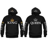 b sweatshirt - Couple Look Woman Man Hoodies Sweatshirt King Queen Crown Printed Hooded Pullover Jackets Loose Jackets Tracksuit Jumper B