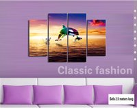 Wholesale Dolphin Dawn and His Love Abstract Oil Painting In Home Decoration Frameless SIRILI Art Canvas Wall Art