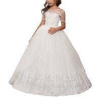 comunion dresses - 2017 Short Sleeve Holy First Communion Dresses A line Appliques Beaded Vestidos Comunion Kids Flower Girls Dresses
