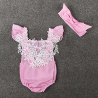 Wholesale Kids Girls Pink Lace Clothing Baby Pieces Sets Children Autumn Suits Short Sleeve Headband Romper For