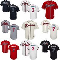 achat en gros de atlanta baseball jersey-# 7 Dansby Swanson Jersey, Nouveau Arrvial Atlanta Braves Jersey Hommes Dansby Swanson 100% broderie brodée Logos Baseball Maillots Mix