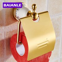 aluminum rolled products - Gold Toilet Paper Holder with Ceramics Roll Holder Tissue Holder Solid Aluminum Bathroom Accessories Products