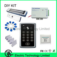 Wholesale F007 standalone ID access control single door system pounds KG magnetic lock power supply exit button ID key card