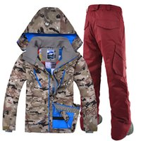 Wholesale GSOU SNOW Outdoor leisure sports Camo ski jacket zipper windproof breathable ski suit suit men s double single plate male ski suit