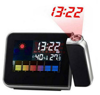 Wholesale LED Backlight Color Display Digital Weather Projector Alarm Clock With Calendar Indoor Weather Temperature Humidity Projection Alarm Sno