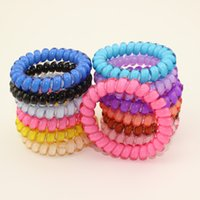 agate copper wire - 6 CM Mix Colors Telephone Wire Line Hair Gum for hair rubber bands spring scrunly