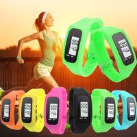 English Passometer On Wrist Wholesale-Digital LCD Pedometer Watch Run Outdoor Step Walking Distance Calorie Counter Bracelet Sport Watches Women Men Relogio
