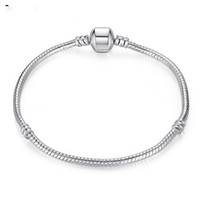 Wholesale Sterling Silver Charm Bracelets Screw Clasp Bracelet Snake Chain Bangle Fit European Charms Silver Beads DIY Jewelry