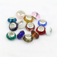 Wholesale DIY Loose Charms Beads Bracelet Murano Glass Silver Plated Pendants Beads with Hole Necklace Beads Jewelry Accessories with quot quot Stamp
