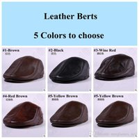 Wholesale 5 Colors Men s Genuine Leather For Top Cowhide Baseball Caps Newsboy Beret Cabbie Hat Golf Hat Winter Warm Hats With Ears CCA5367