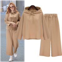 Wholesale In the autumn of new loose long sleeved sweater suit Couture turtleneck jacket wide leg pants suit