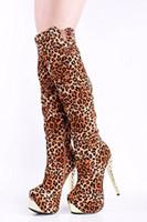 al por mayor botas altas cebra-Las nuevas mujeres sobre los cargadores de la rodilla los altos cargadores del muslo de la impresión del leopardo de la cebra imprimen el tamaño de los altos talones El envío libre