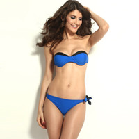 Wholesale The new split swimsuit sexy swimsuit bandage wrapped chest small chest gather swimsuit